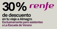 Ahorra un 30% en tu viaje a la Escuela de Verano 2016, con RENFE